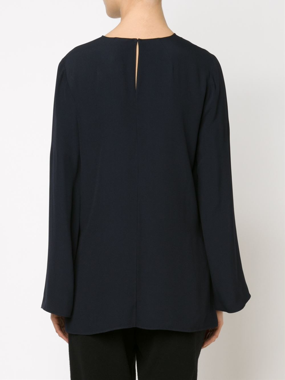 Adam lippes slit cuff blouse in blue lyst for Adam lippes women s long sleeve vee t shirt