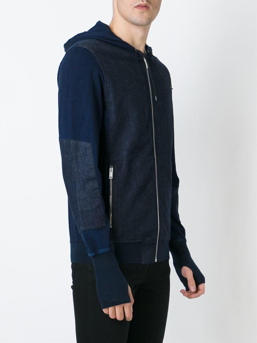alexander mcqueen panelled hoodie in blue for men lyst. Black Bedroom Furniture Sets. Home Design Ideas