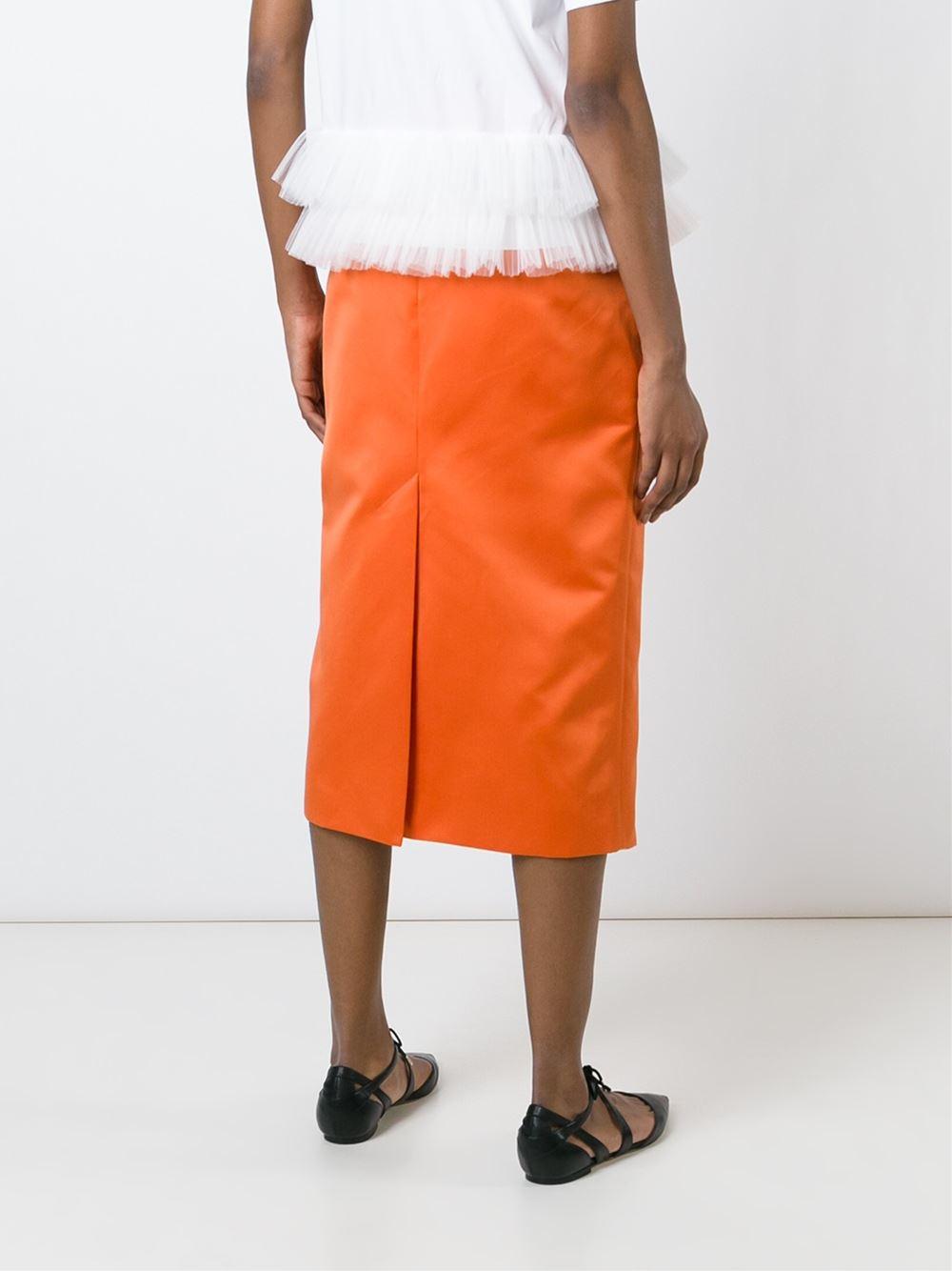 rochas midi pencil skirt in orange yellow orange lyst