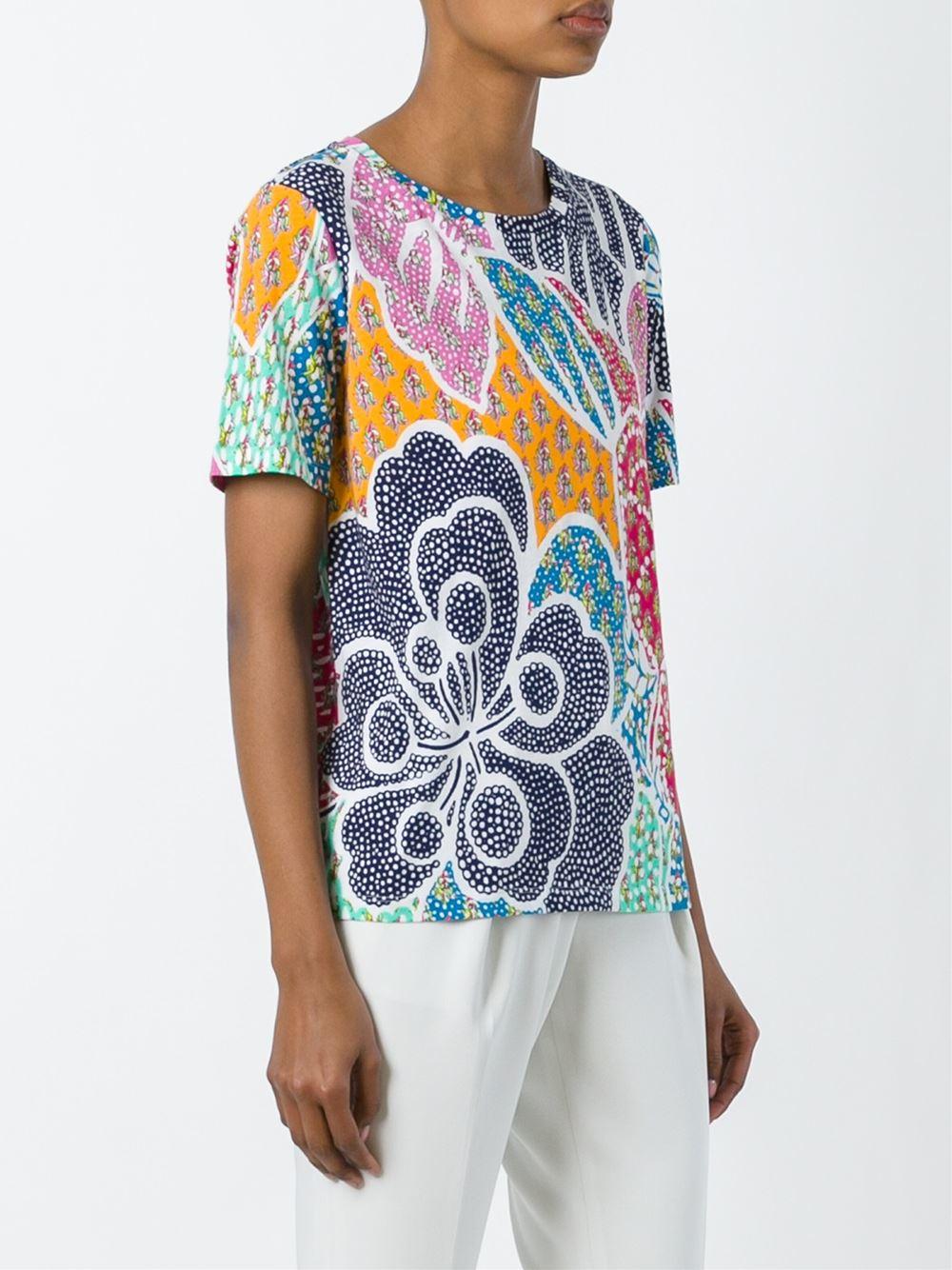 Diane von furstenberg printed t shirt lyst for Diane von furstenberg shirt