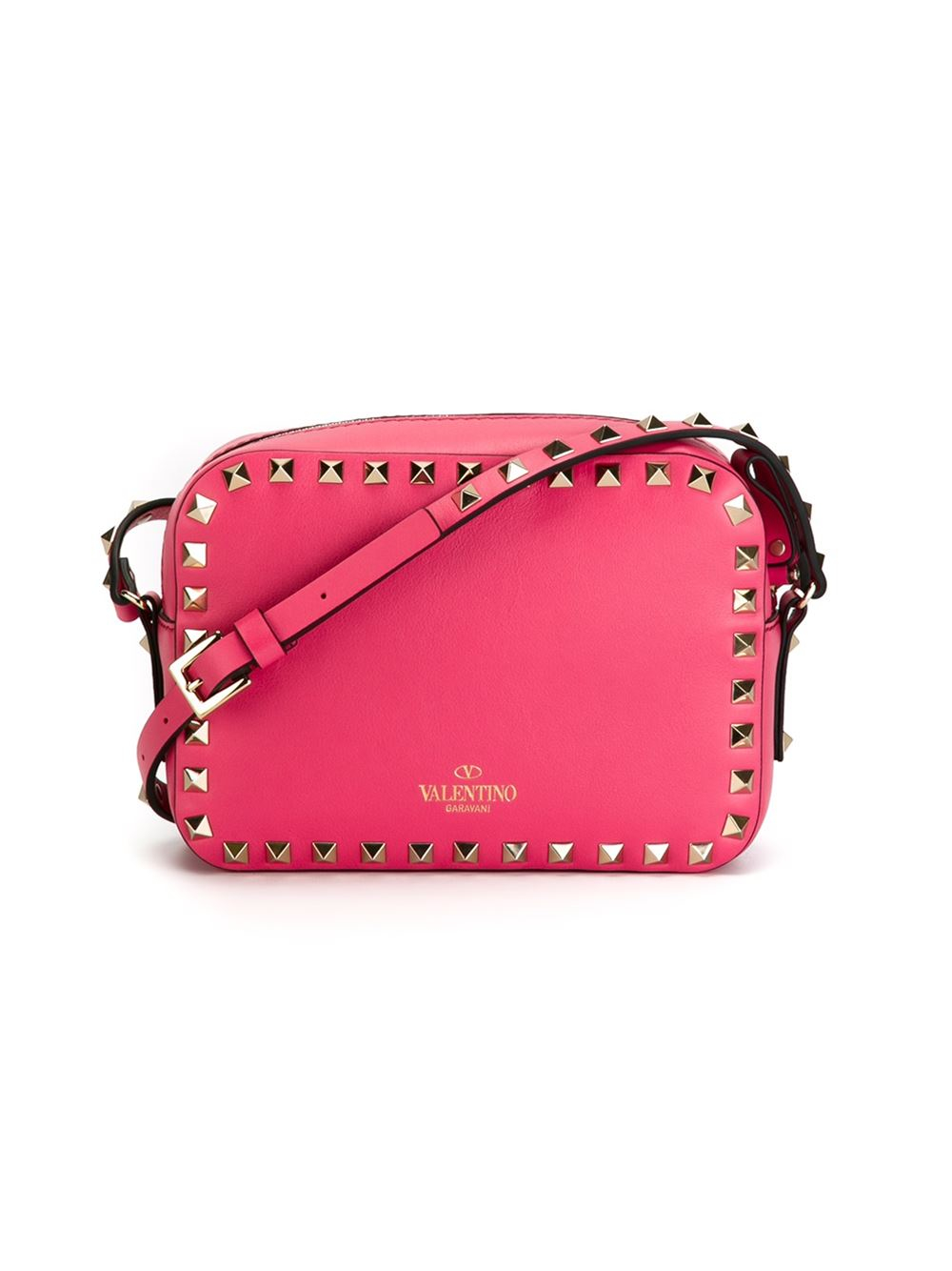 valentino rockstud leather cross bag in pink pink