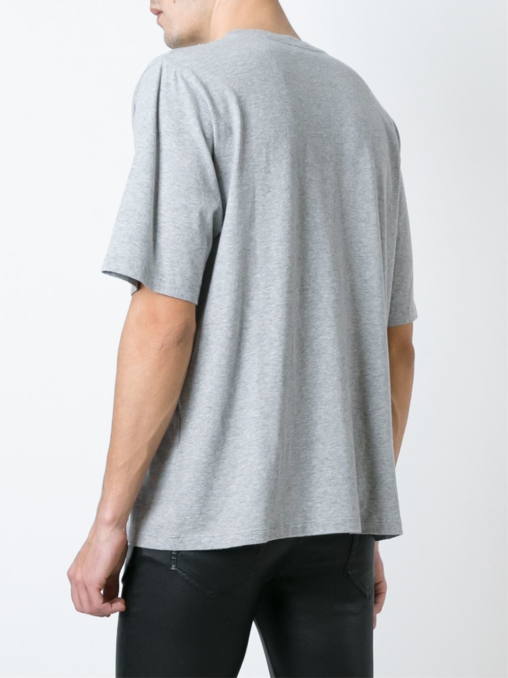 Saint laurent classic boxy t shirt in gray for men grey for Saint laurent t shirt