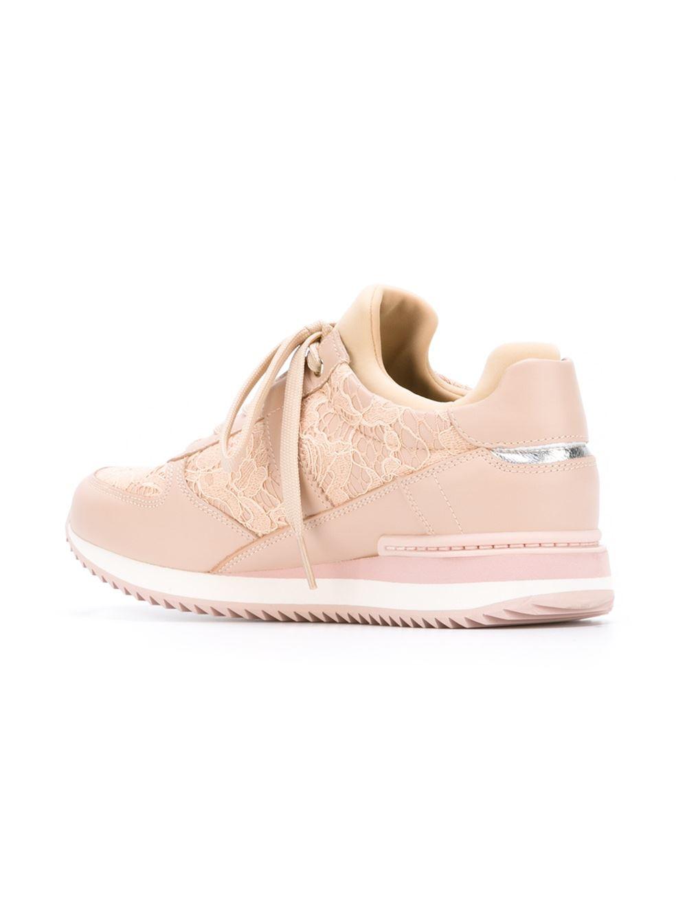 dolce gabbana lace sneakers in beige pink purple lyst. Black Bedroom Furniture Sets. Home Design Ideas