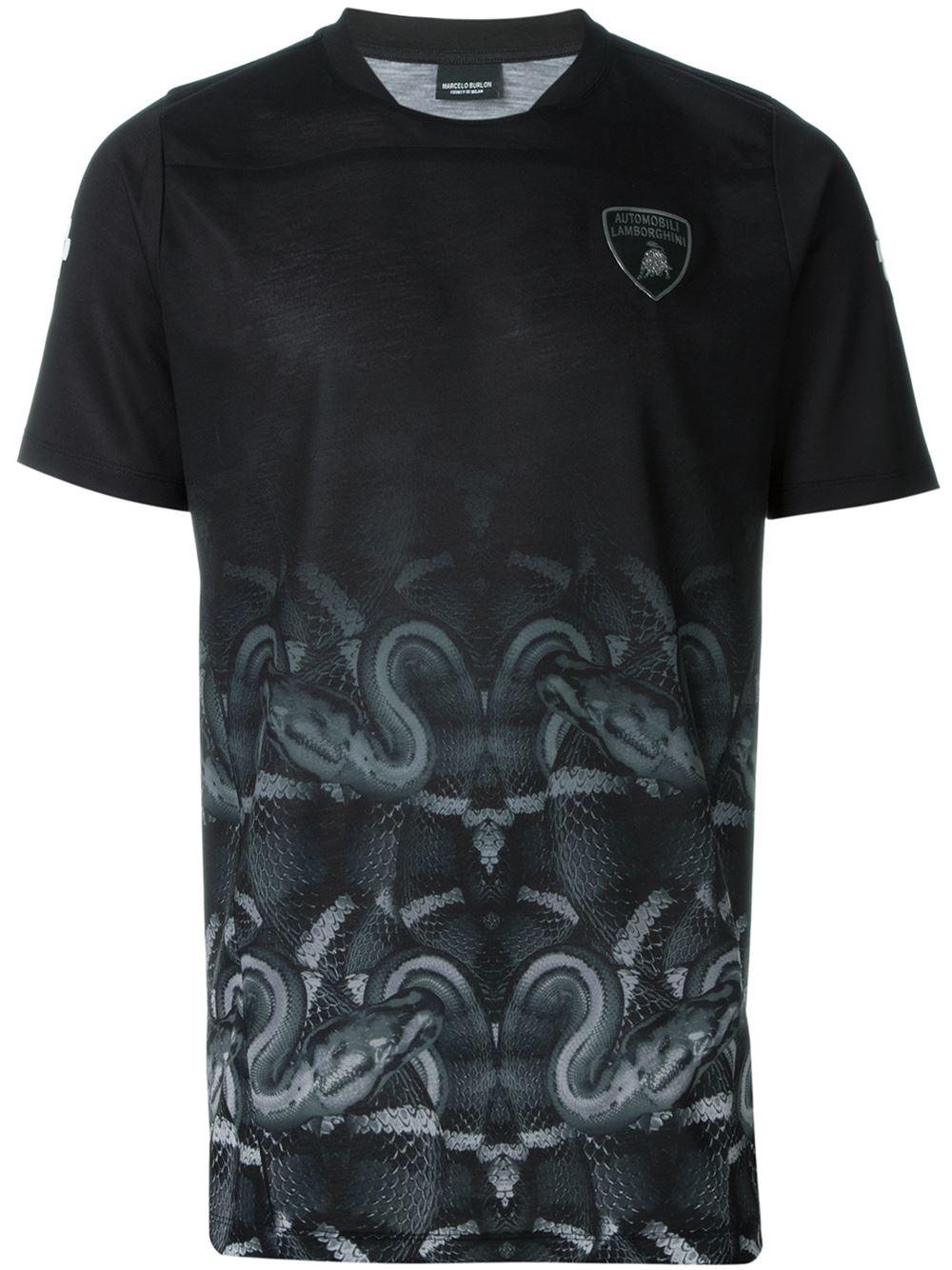 marcelo burlon lamborghini t shirt in black for men lyst. Black Bedroom Furniture Sets. Home Design Ideas