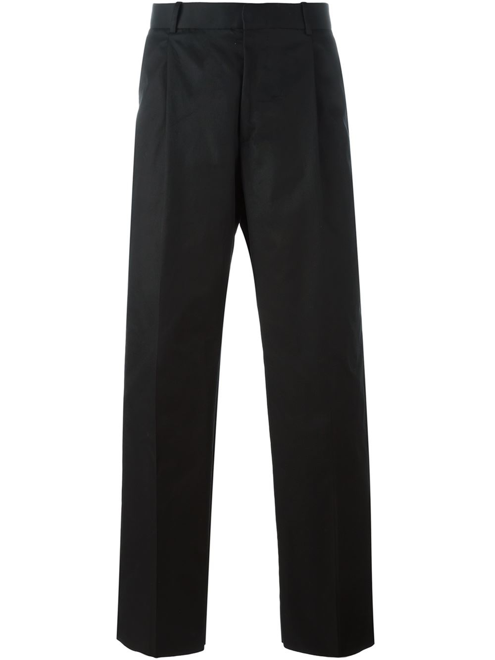 Alexander McQueen Cotton Wide Leg Trousers in Black for Men
