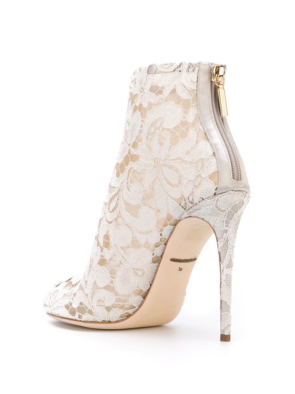 Lyst Dolce Amp Gabbana Floral Lace Ankle Boots In White