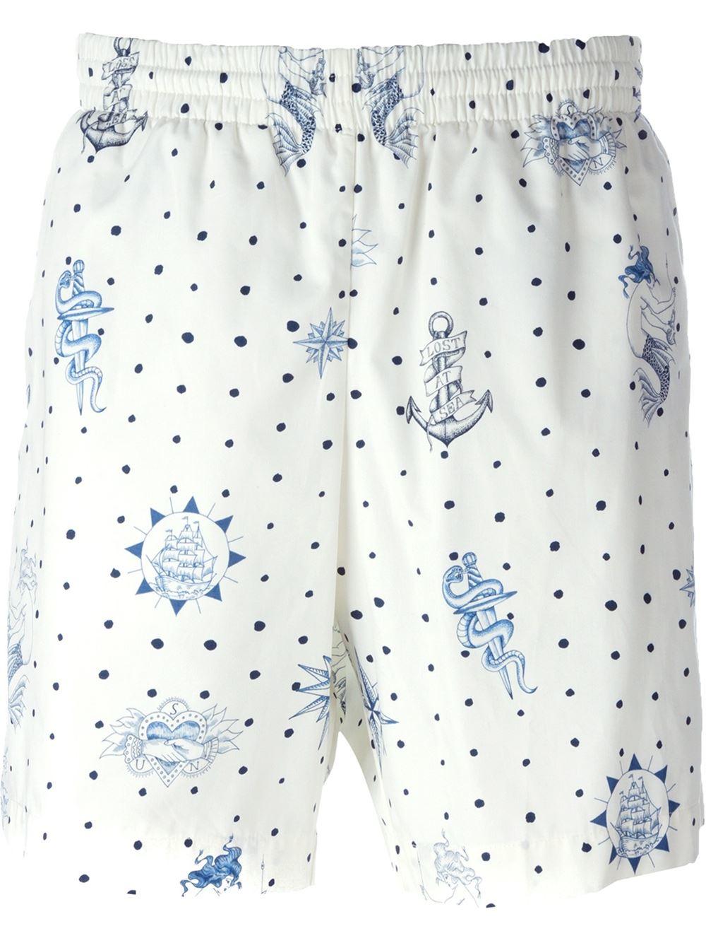 2168fa831a Lyst - Alexander McQueen Tattoo Print Swim Shorts in White for Men