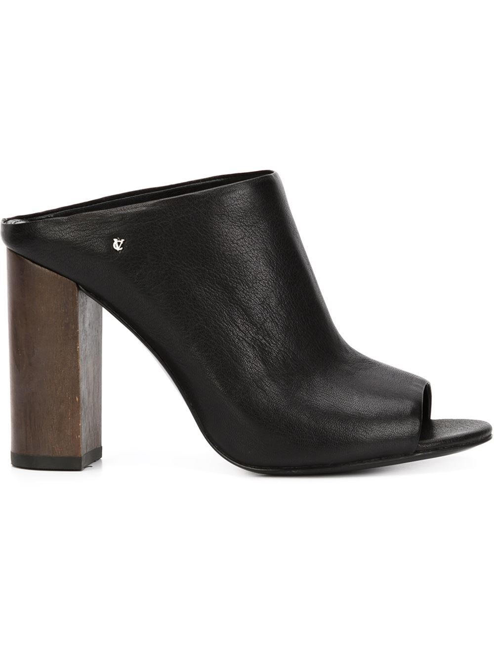 Vince Camuto Open Toe Leather Mules In Black Lyst