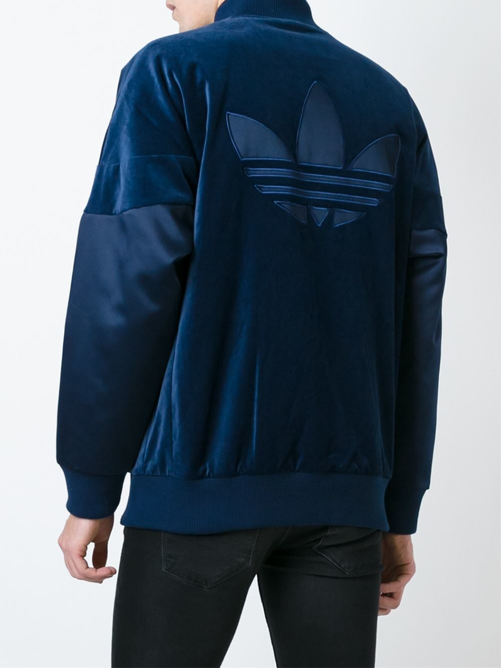 lyst adidas originals velvet 39 superstar 39 jacket in blue. Black Bedroom Furniture Sets. Home Design Ideas