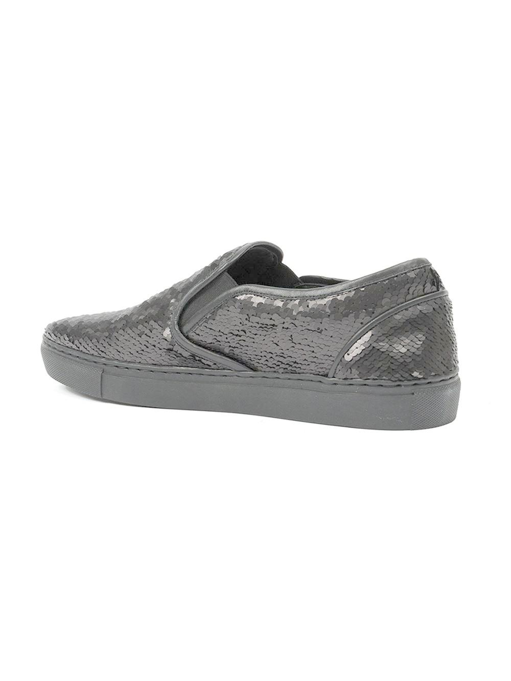 juun j sequin slip on shoes in black for lyst