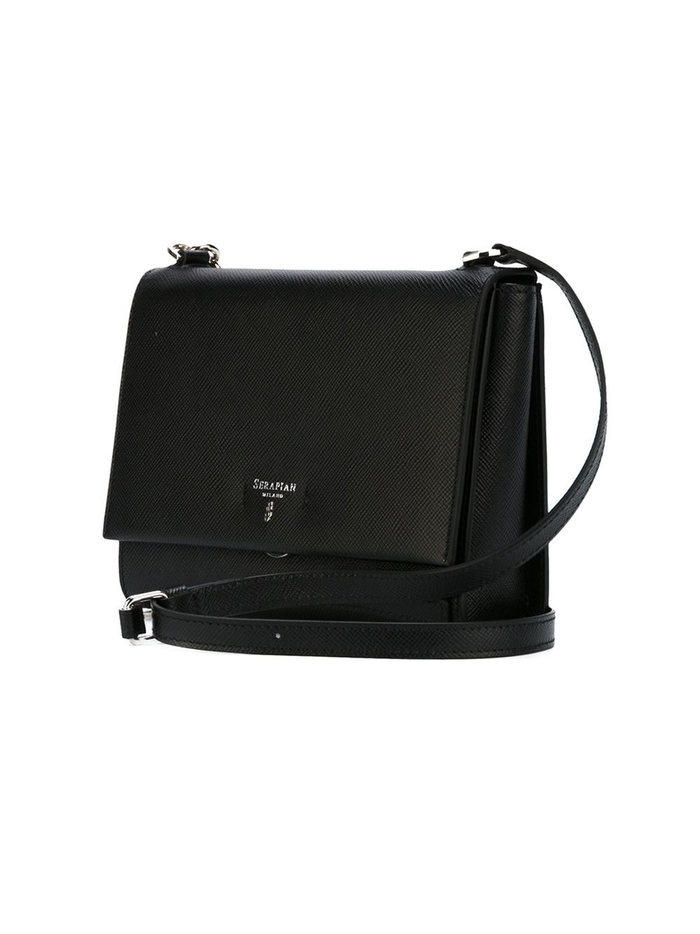 Serapian Leather Classic Flap Crossbody Bag in Black