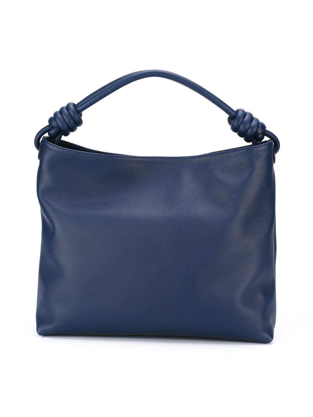 Loewe Leather Medium 'flamenco Knot' Tote in Blue