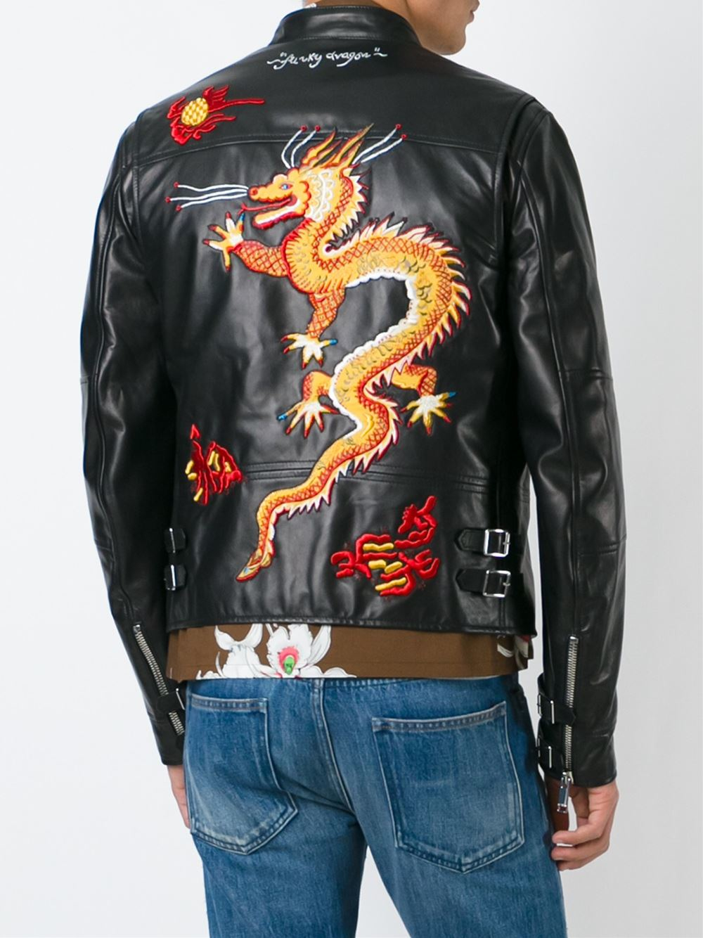 Valentino Dragon Embroidered Jacket In Black For Men Lyst