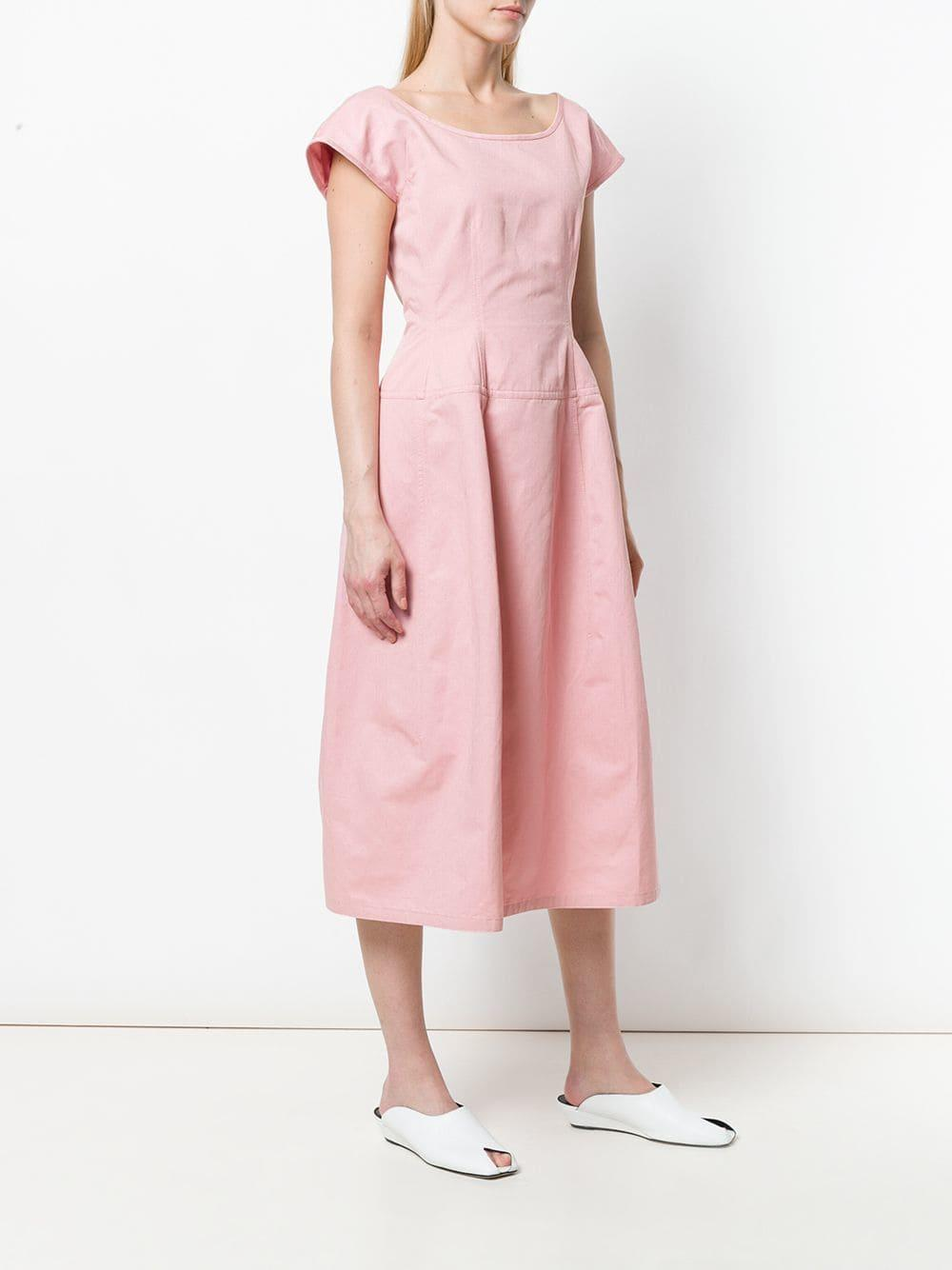 Robe mi-longue à encolure carrée Coton Marni en coloris Rose