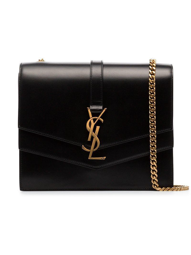 834754b8a1 Lyst - Saint Laurent Black Montaigne Leather Shoulder Bag in Black