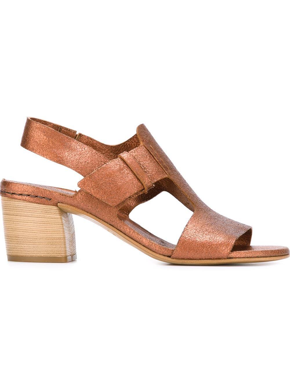 Roberto del carlo Chunky Heel Sandals in Natural