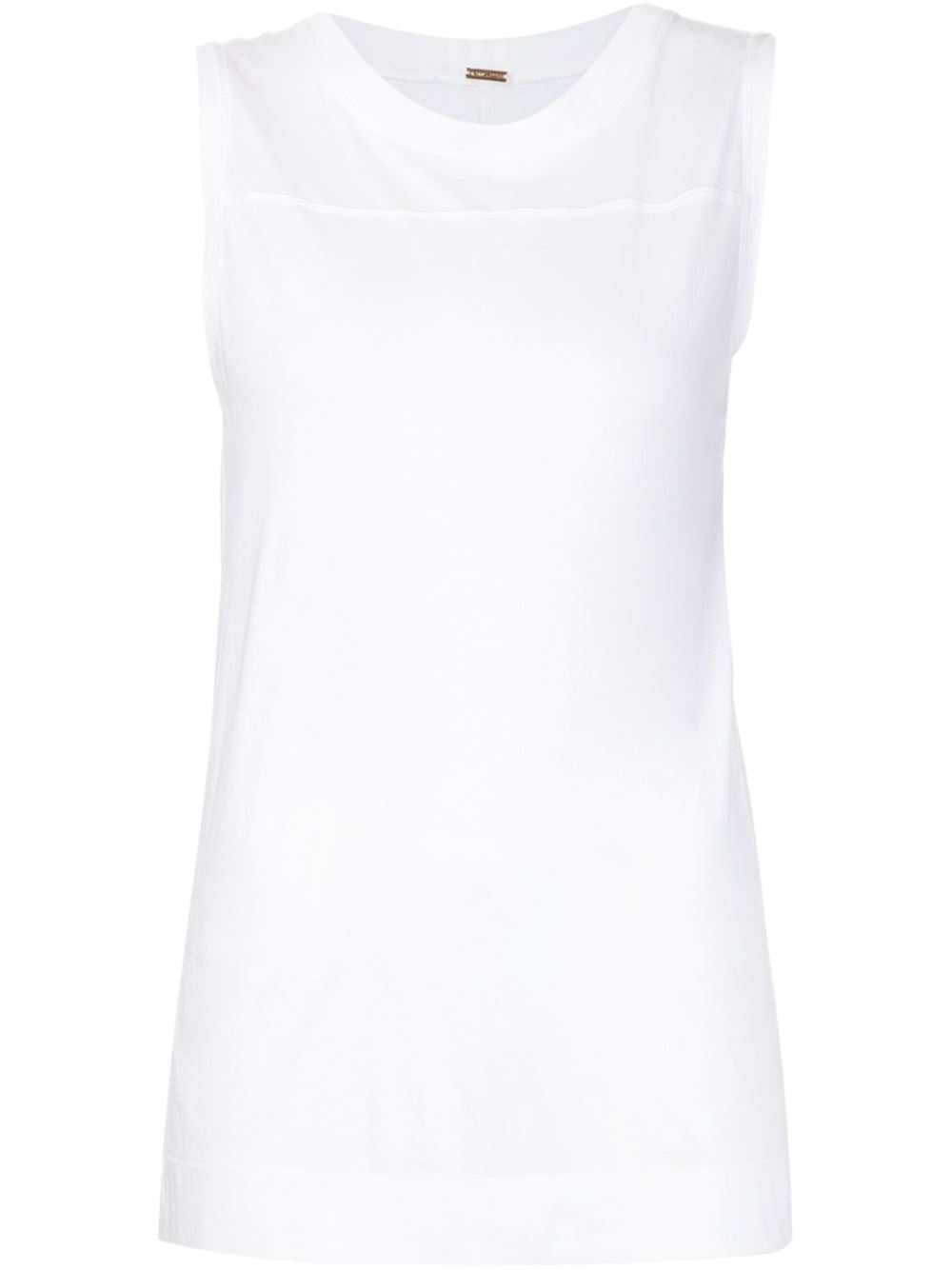 Adam lippes sleeveless t shirt in white lyst for Adam lippes t shirt