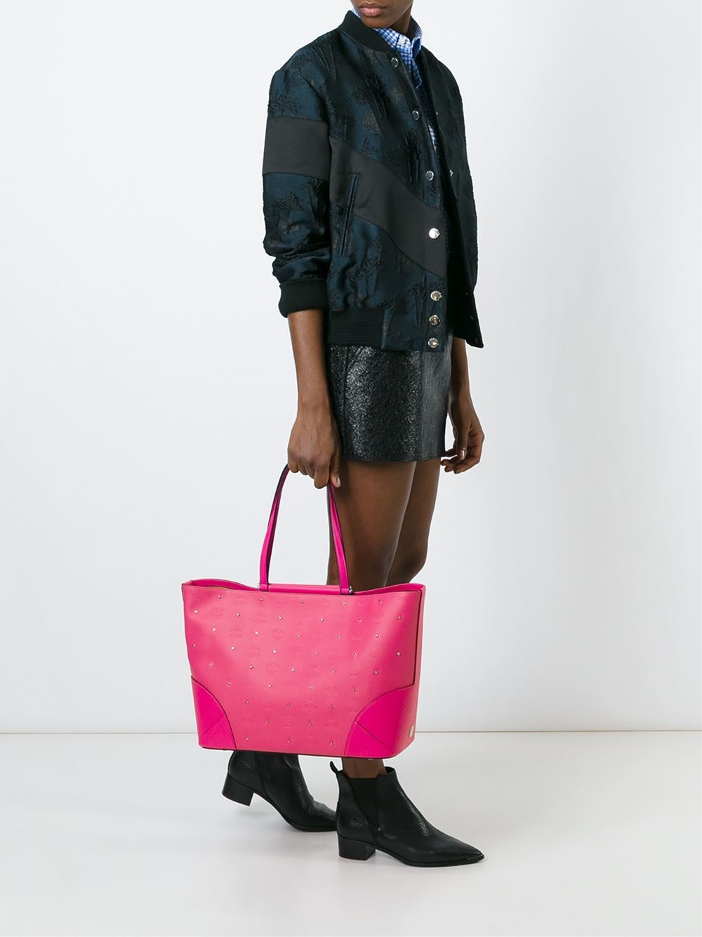 MCM Leather 'claudia' Tote in Pink/Purple (Purple)
