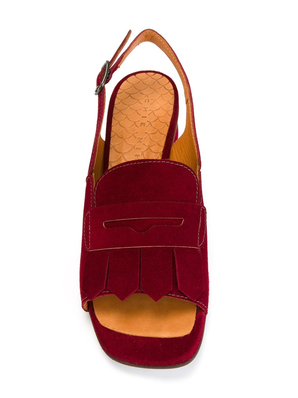 chie mihara front fringe sandals in red lyst. Black Bedroom Furniture Sets. Home Design Ideas