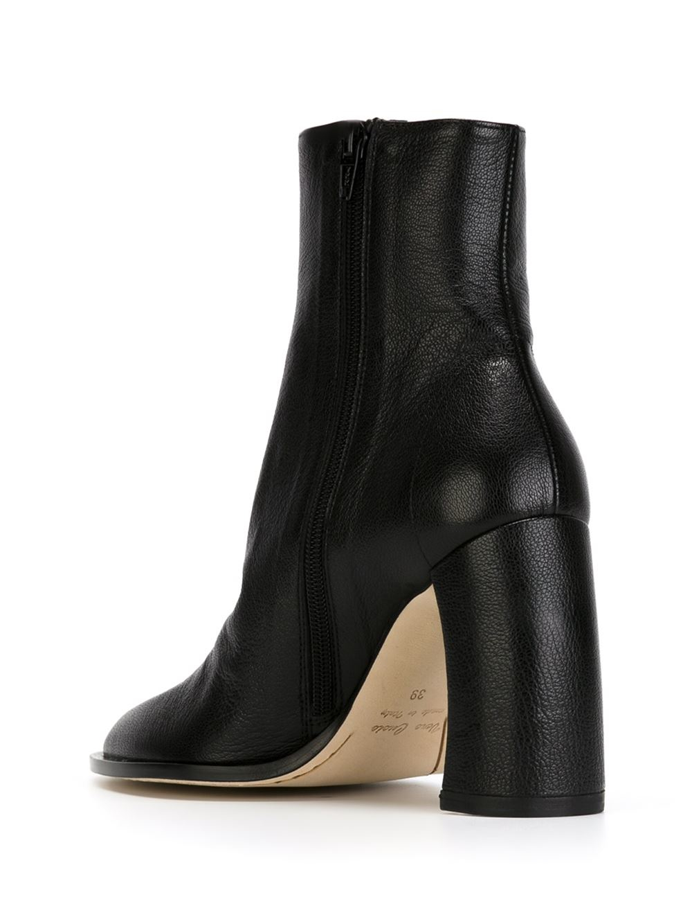 Ann Demeulemeester Curved-Heel Leather Ankle Boots in Black