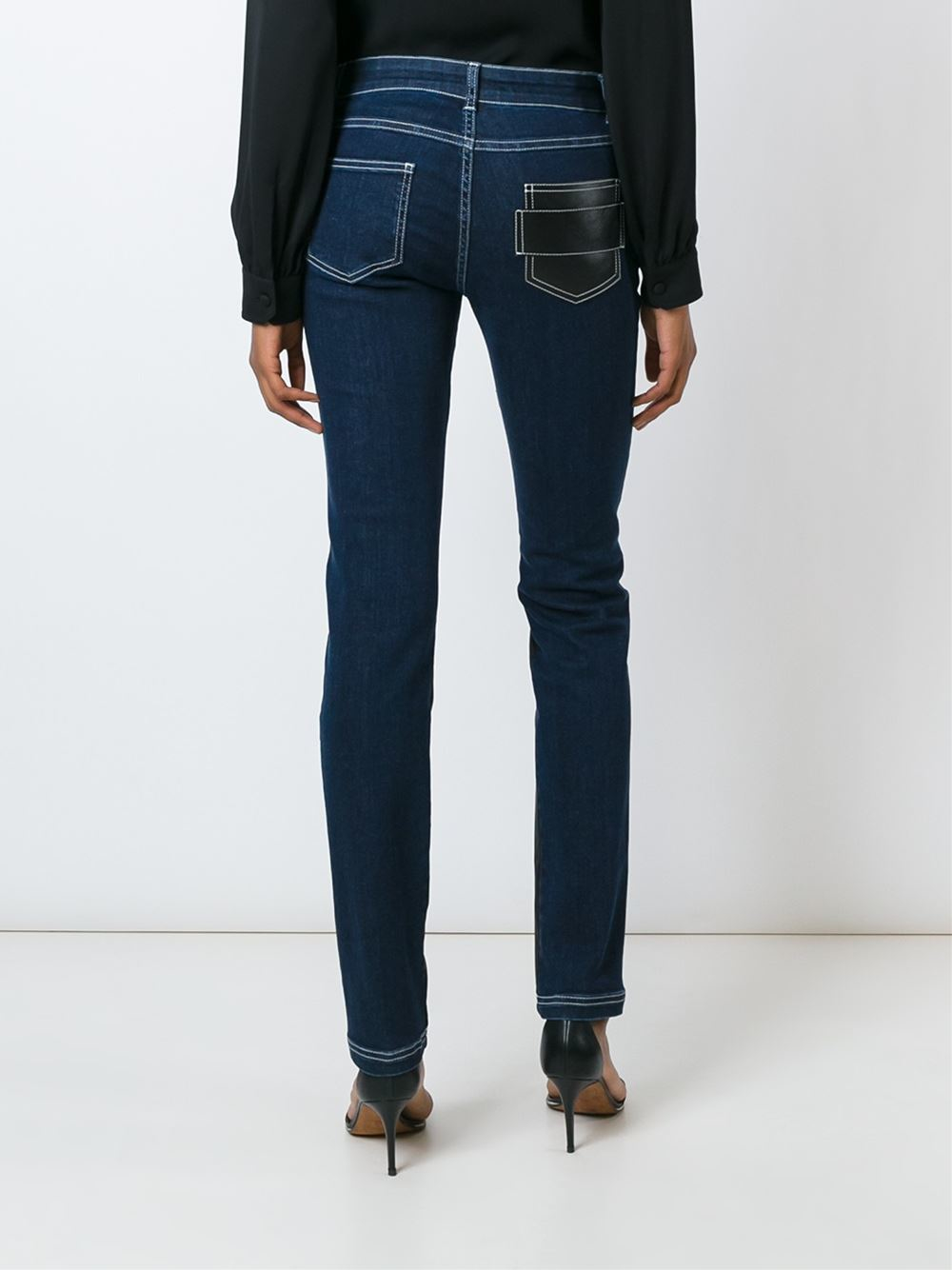 Givenchy Denim Skinny Panelled Jeans in Blue