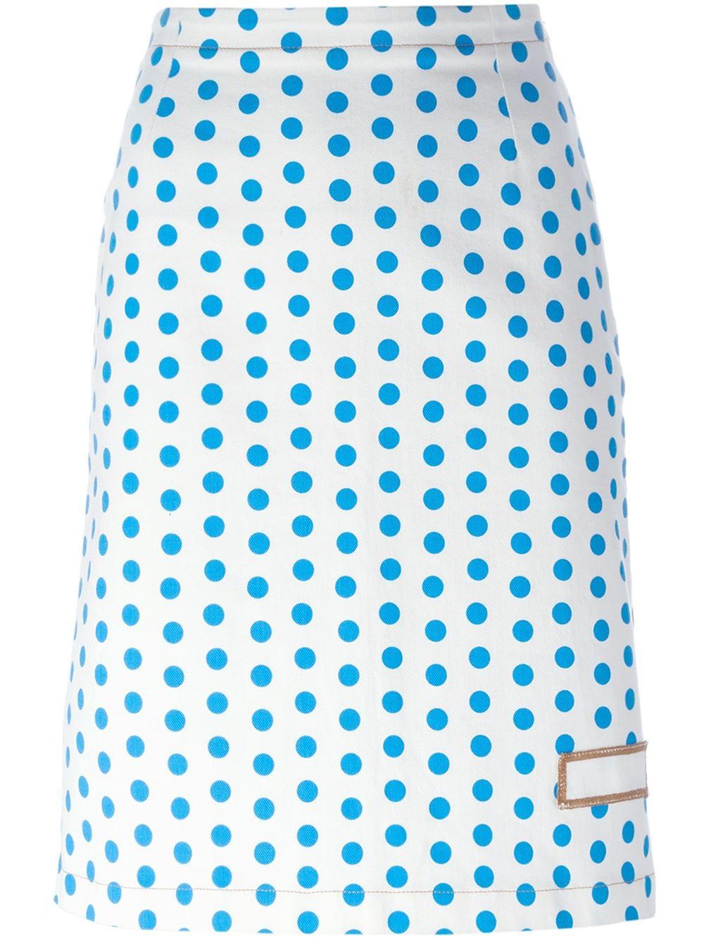 j w polka dot skirt in blue save 30 lyst