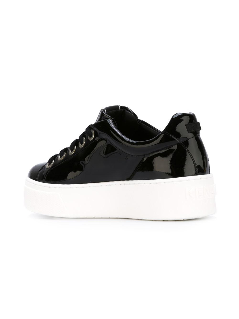 KENZO Leather Platform Sneakers in Black