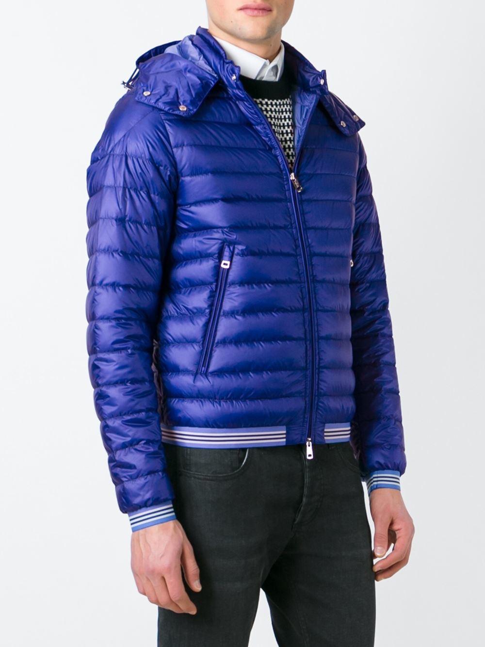 Moncler Hooded Padded Jacket In Blue For Men Lyst