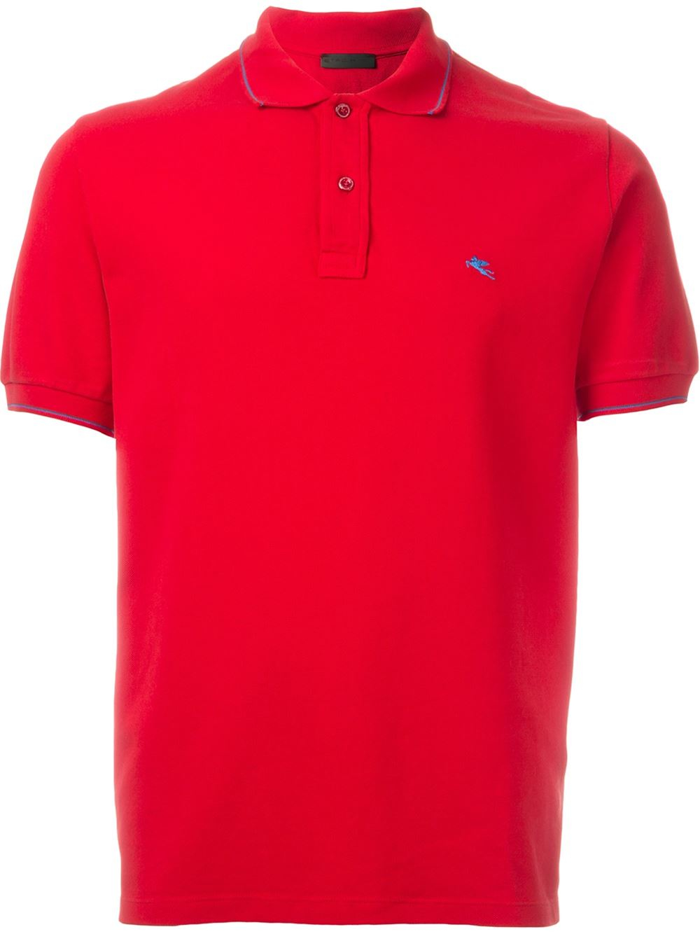 Etro logo embroidered polo shirt in red for men lyst for Cheap polo shirts embroidered