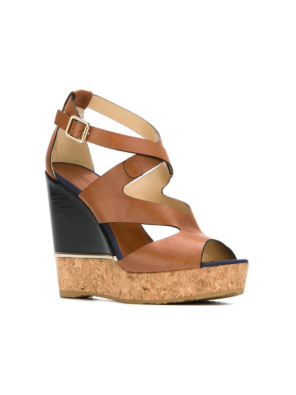 Jimmy Choo Shoes Black Brown Cork