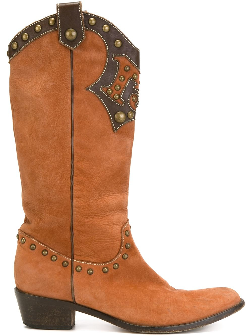 moschino texan boots in brown lyst
