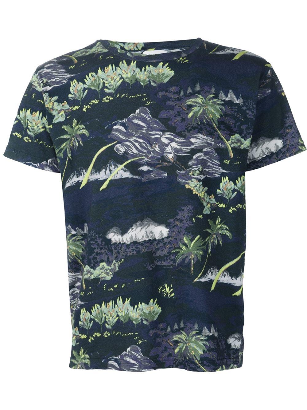 Saint laurent hawaii print t shirt in multicolor for men for T shirt printing hawaii