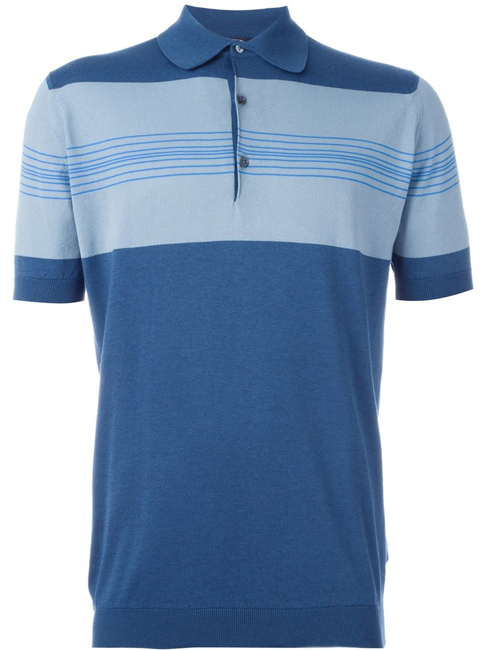 Lyst john smedley knit polo shirt in blue for men for Knitted polo shirt mens