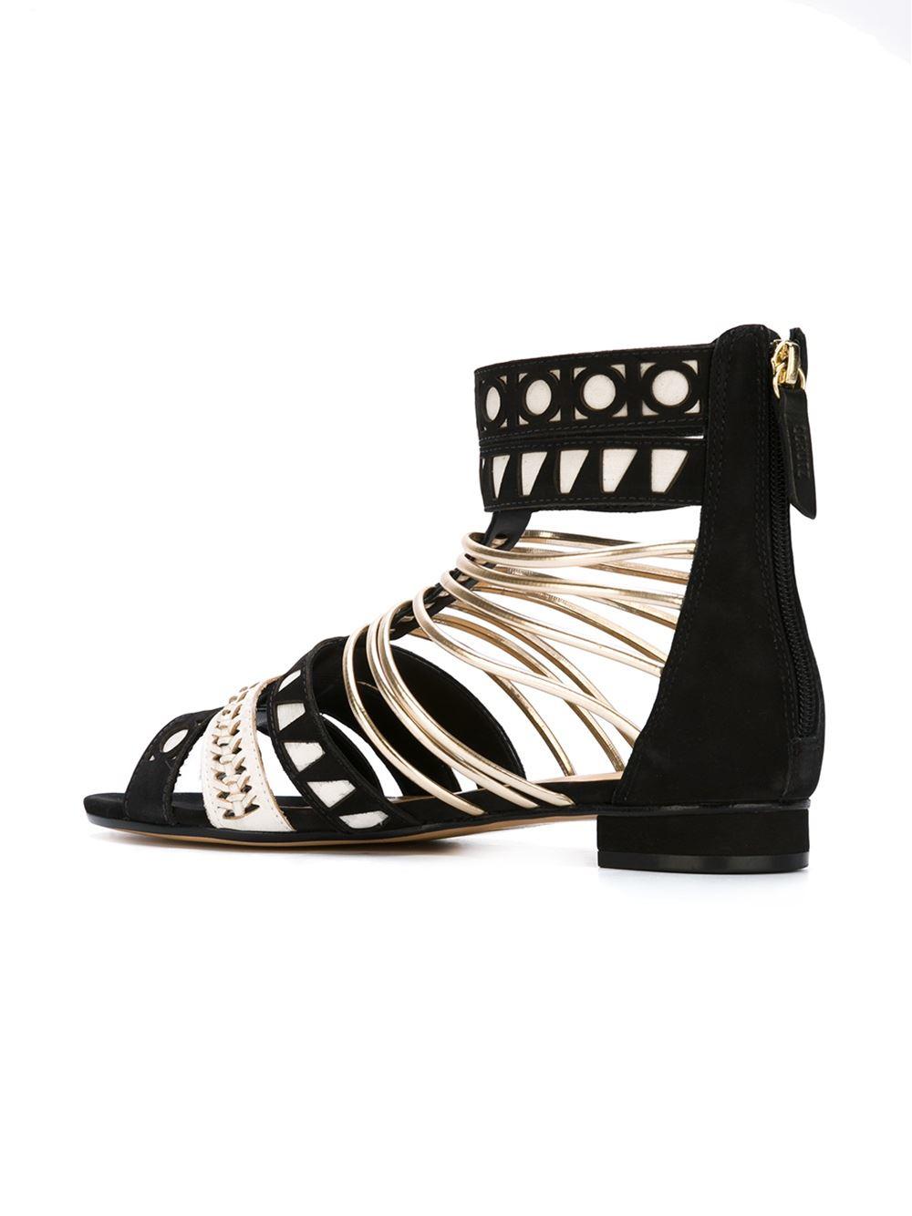 schutz strappy flat sandals in black lyst