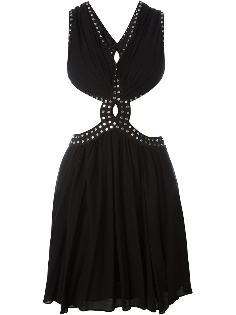 Black and silver-tone studded cut-out dress from Jay Ahr. Material ...