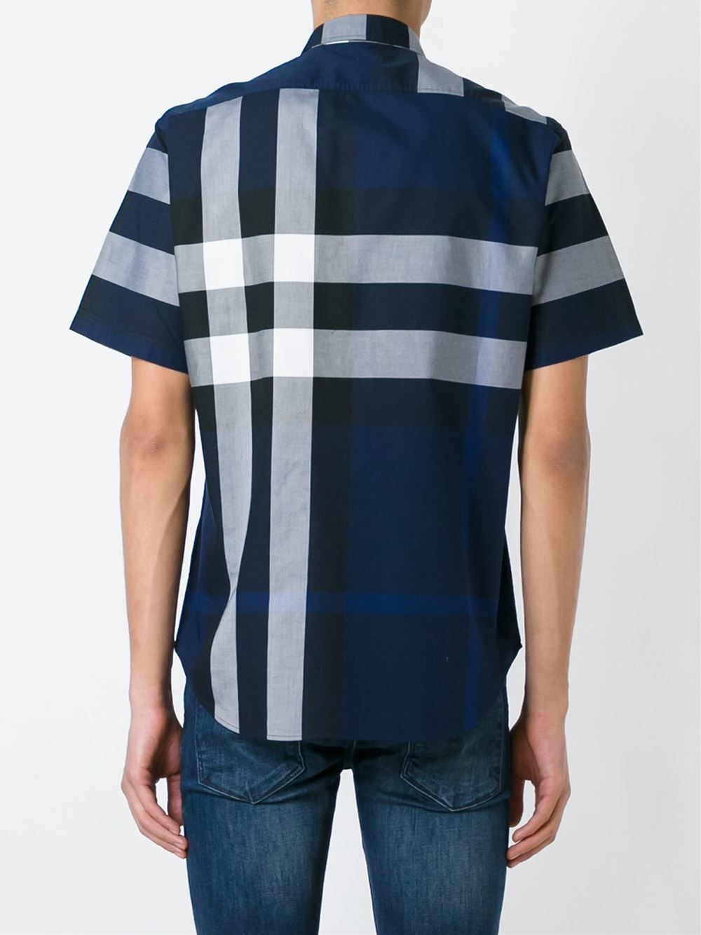 Burberry brit checked shortsleeved shirt in blue for men for Burberry brit checked shirt
