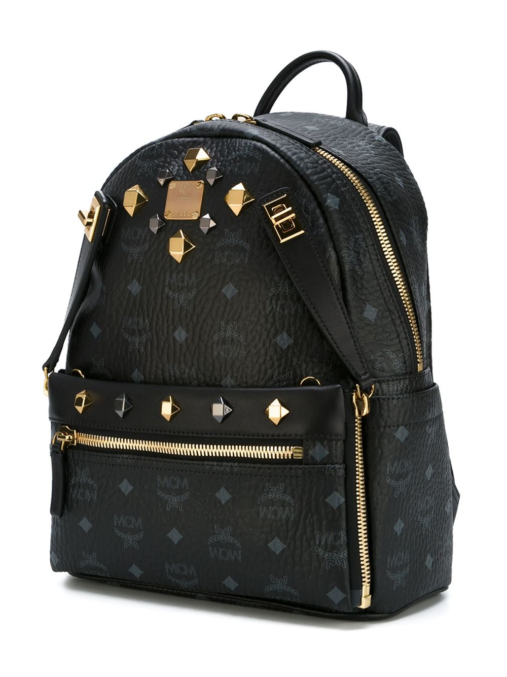 Mcm Studded Backpack In Black Lyst