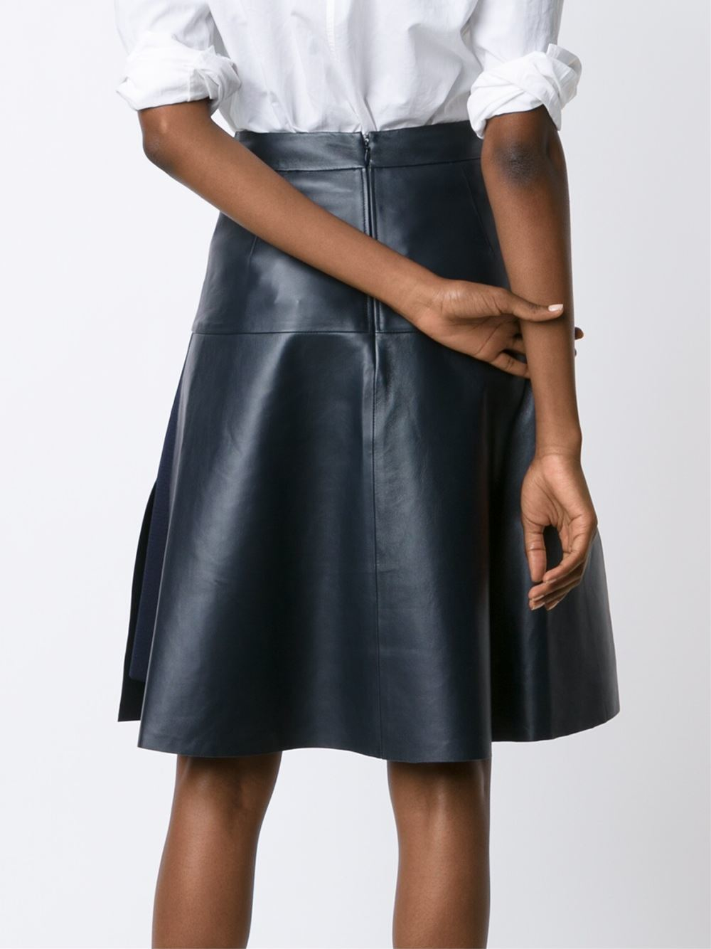 maison ullens classic a line skirt in blue lyst