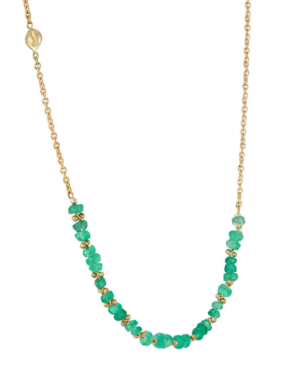Natasha Collis Classic Emerald Necklace in Metallic (Blue)