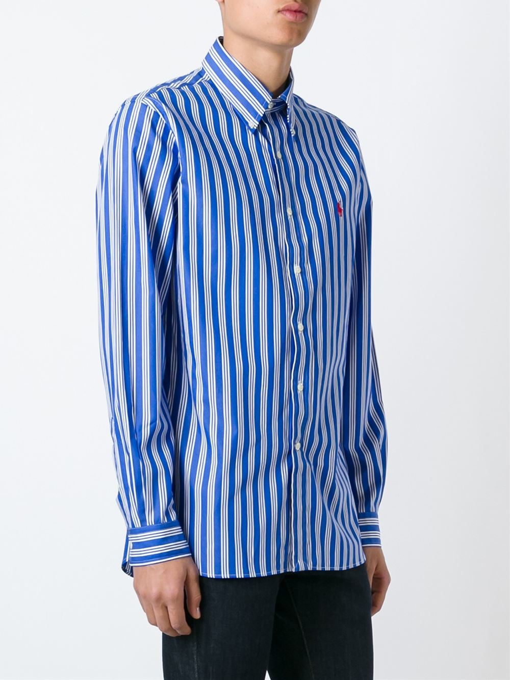 Lyst polo ralph lauren striped button down shirt in blue for Polo ralph lauren casual button down shirts