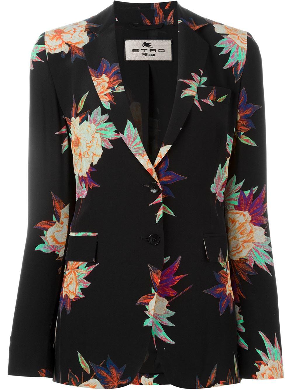 etro flower print silk blazer in black lyst. Black Bedroom Furniture Sets. Home Design Ideas