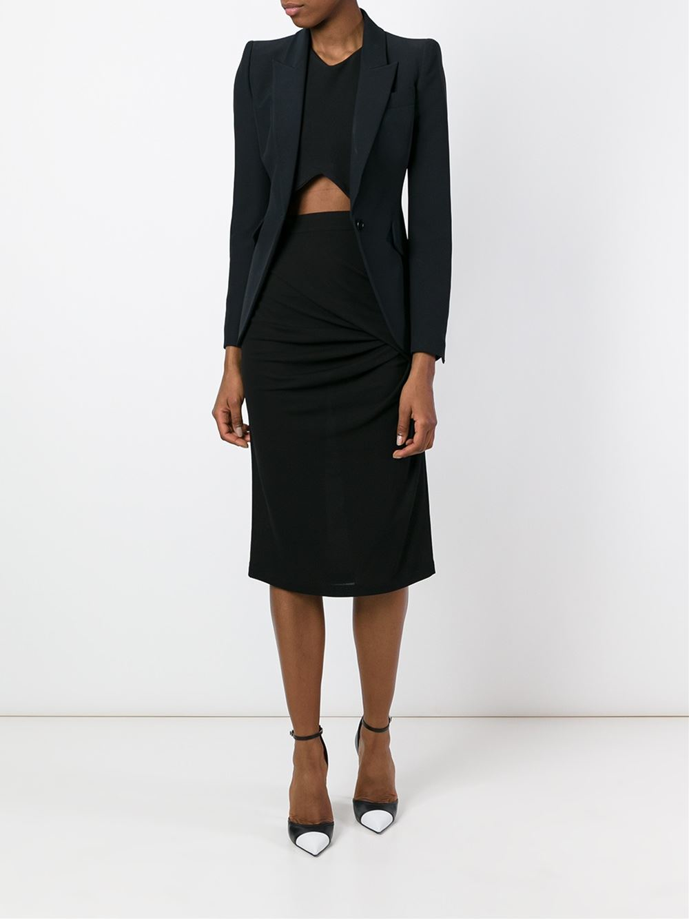 givenchy gathered pencil skirt in black lyst