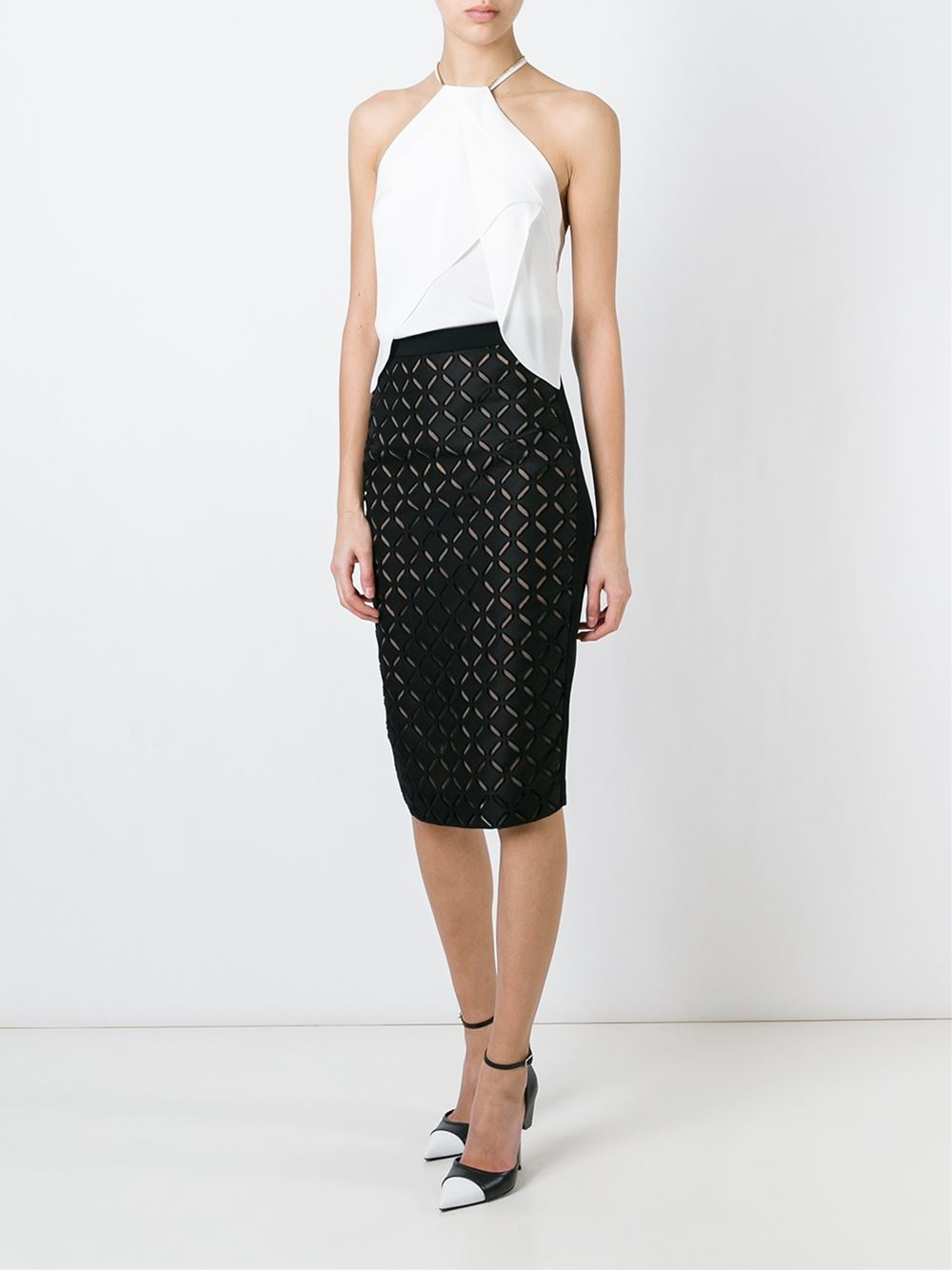 roland mouret cut out pencil skirt in black lyst