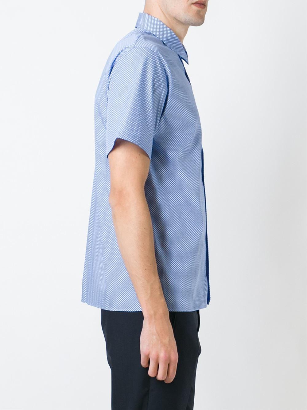 Jil sander pindot print shortsleeved shirt in blue for men for Jil sander mens shirt