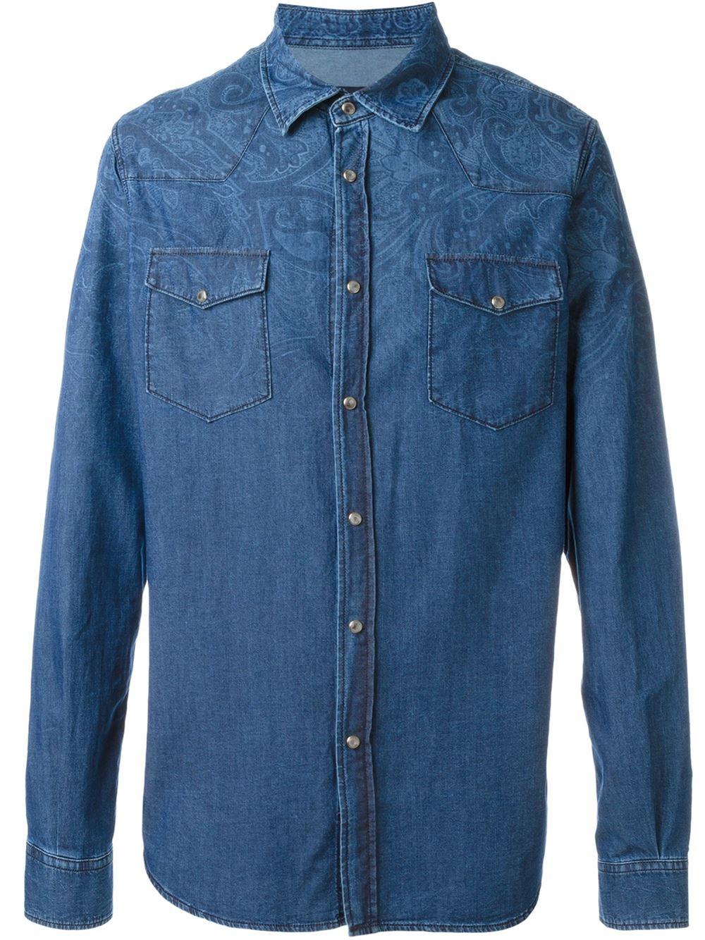 Lyst etro denim shirt in blue for men for Etro men s shirts