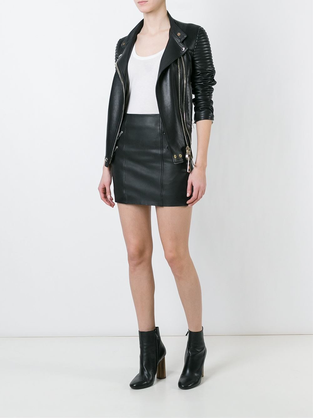 muubaa zipped leather mini skirt in black lyst