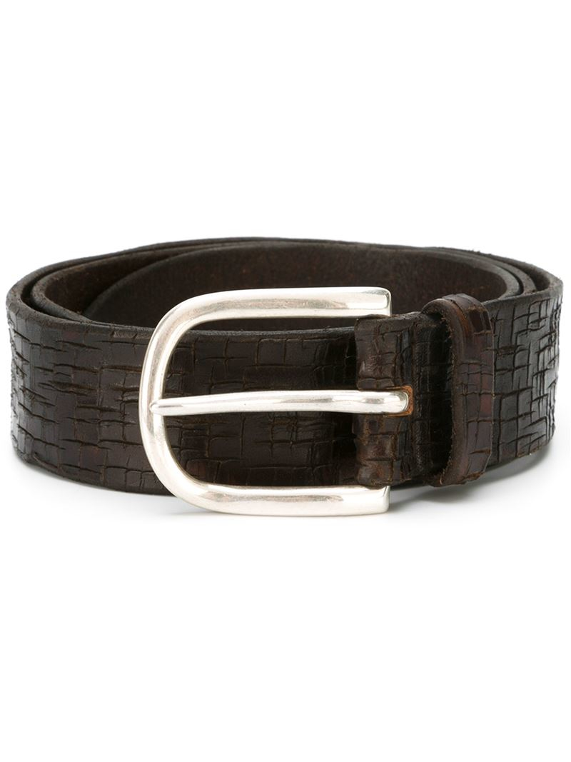 orciani classic buckle belt in brown for lyst