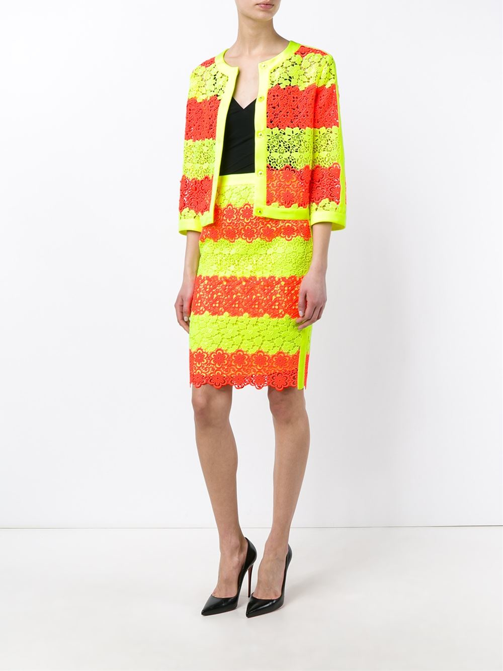 moschino floral neon lace pencil skirt in yellow