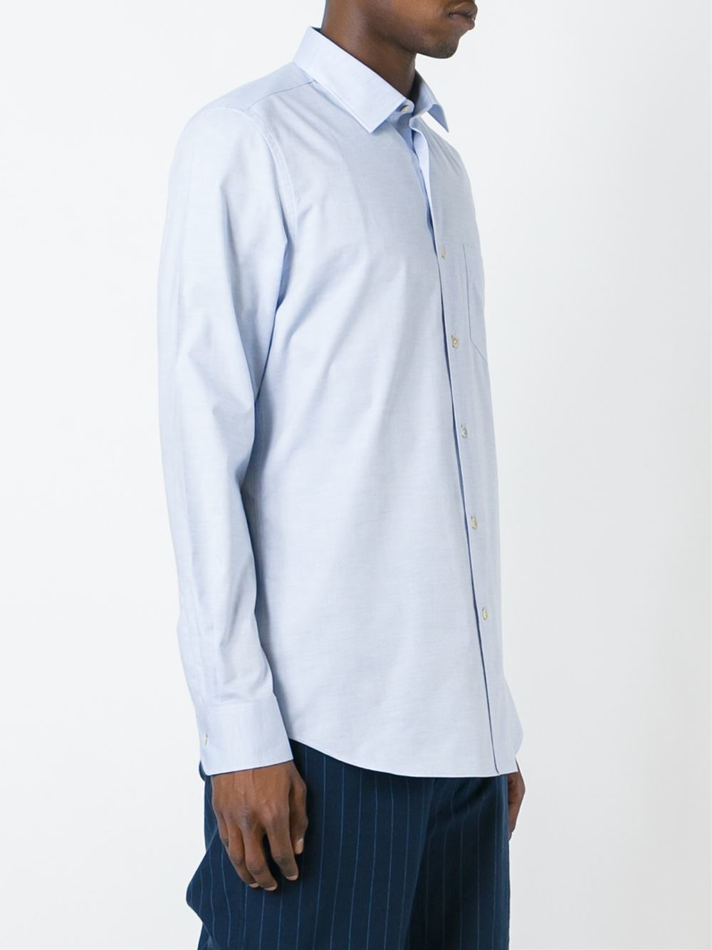 Paul smith classic button down shirt in blue for men lyst for Preppy button down shirts