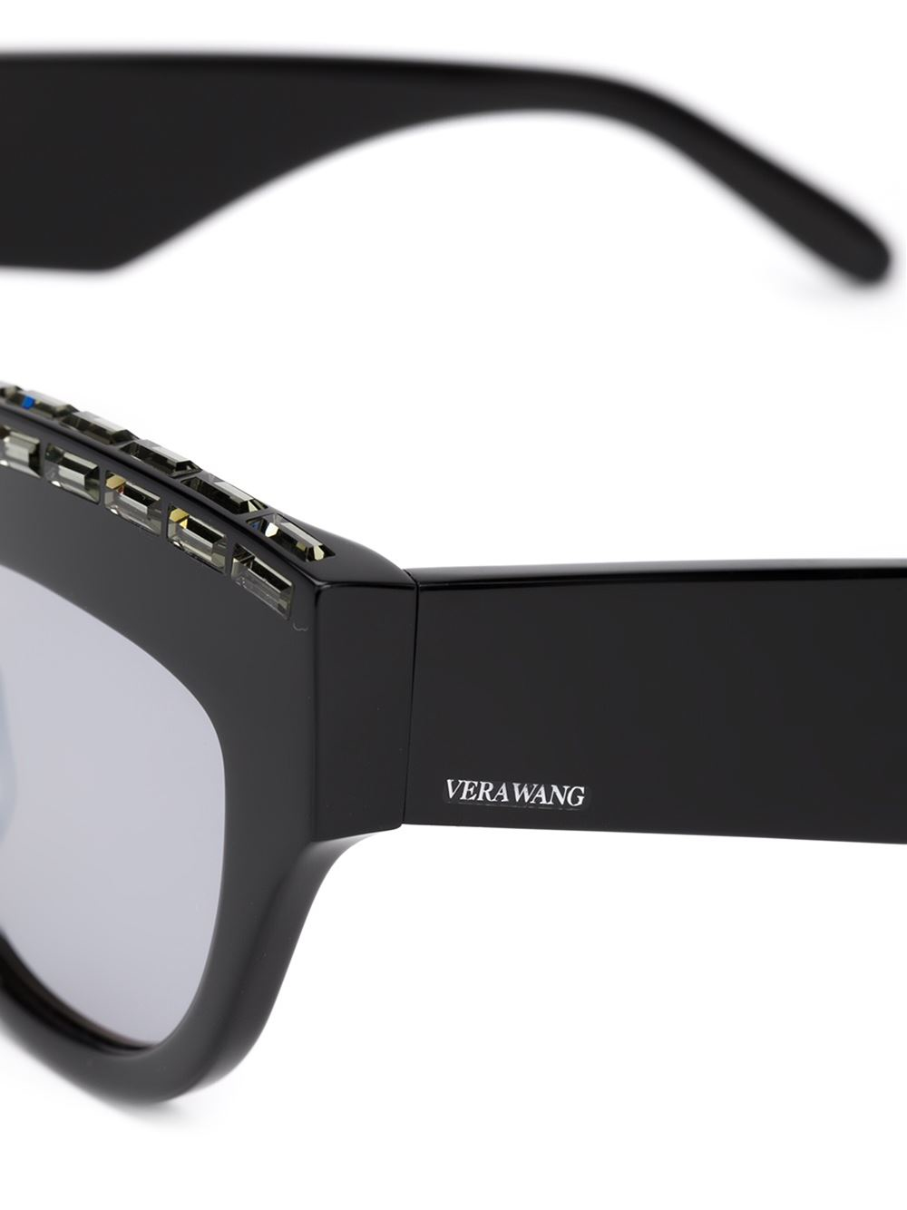 Vera Wang Embellished Cat Eye Sunglasses in Black